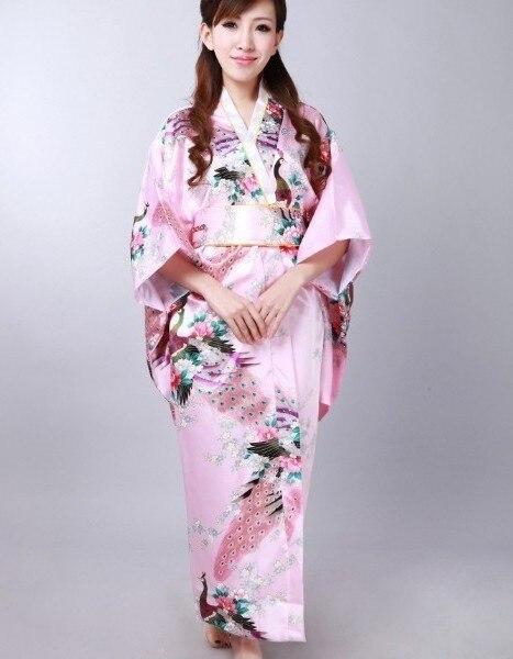 Hot Selling Japanese Women's Silk Satin Kimono Evening Dress Yukata Flowers One Size Pink