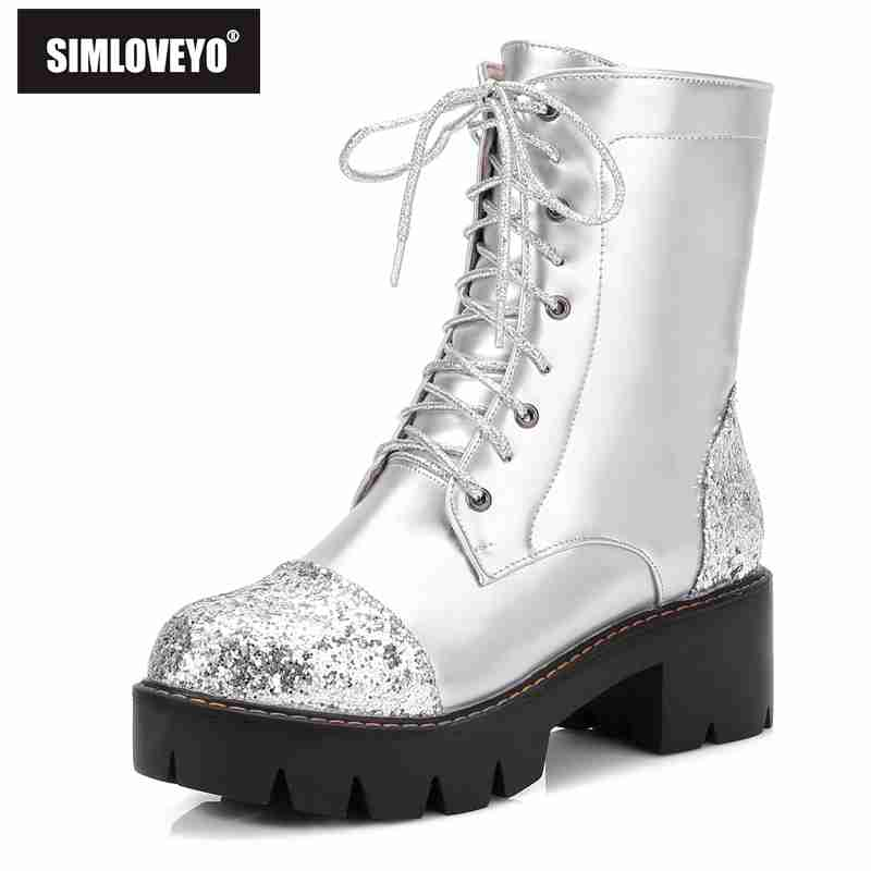 SIMLOVEYO Big size Dr M Women Ankle Boots Thick Med Heels Lace Up Leather Platform Short