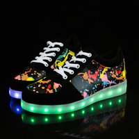 Kids Shoes Brand 2017 Black Light Children Led Shoes USB Charging Lighted Shoes For Kids Women