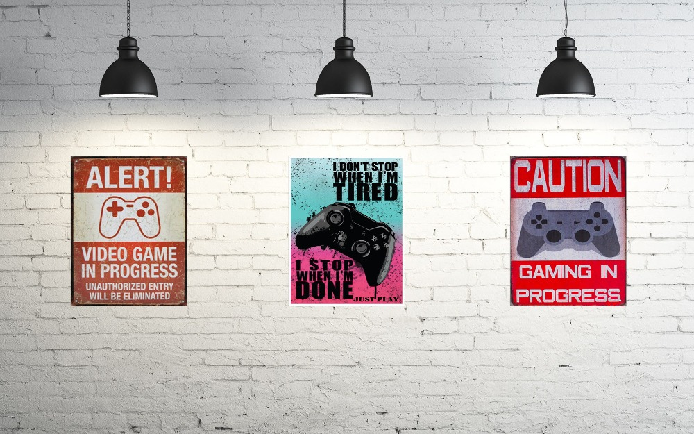 1 pc Video gaming in progress console no trespassing Tin Plate Sign wall Room man cave Decoration Art Dropshipping Poster metal