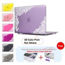 Encaje floral inserto púrpura accesorios de ordenador portátil de impresión cubierta para macbook pro 13 Caso Pro 13 15 Retina Piel Del Ordenador Portátil de 13.3 Pulgadas de la Tableta