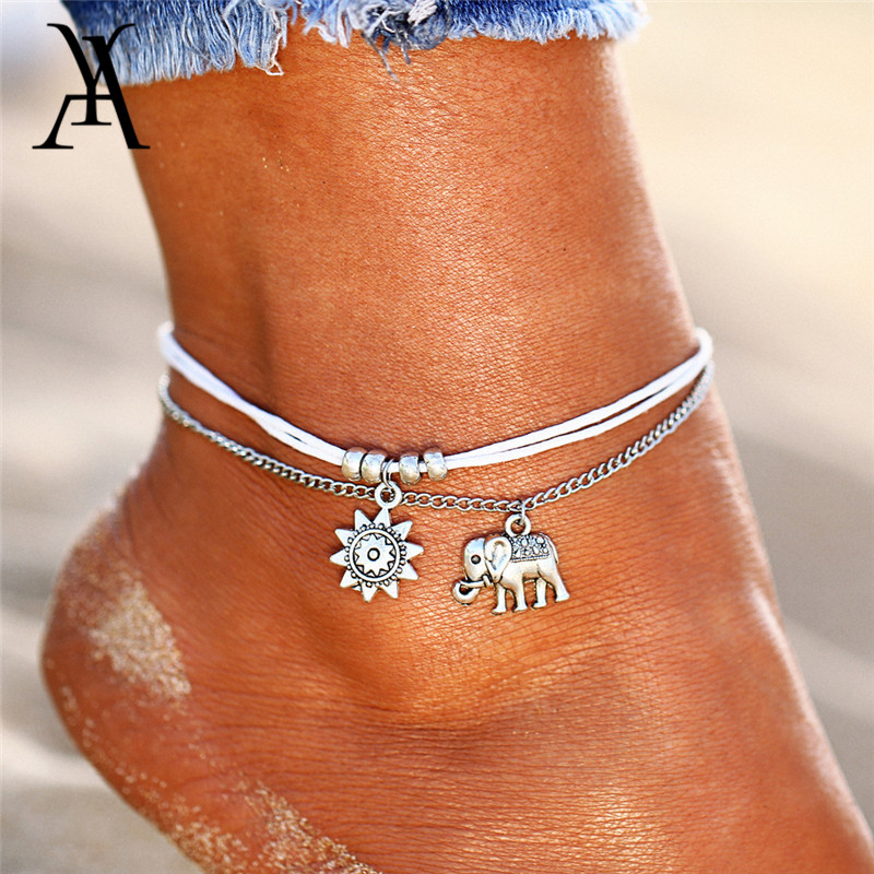Jewelry & Accessories Junxin Minimalist Female Sexy Barefoot Ocean Wave Anklets For Women Silver Gold Color Letter Anklet Set Beach Ankel Foot Jewelry Anklets
