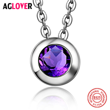 Women Fashion Necklace 925 Sterling Silver Charm Round Pendant 100% AAAAA 6mm Zircon Womens Jewelry