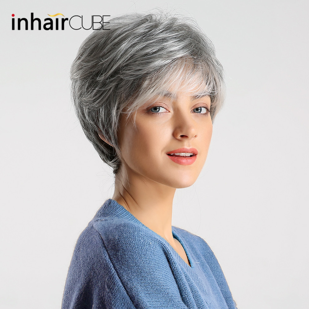 Inhair Cube Women Wigs Fluffy Multi-Layered Hair Short Straight Silver Grey Mixed Natural Synthetic Hair Wig With Bangs