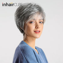 Inhair Cube Women Wigs Fluffy Multi-Layered Hair Short Straight Silver Grey Mixed Natural Synthetic Hair Wig With Bangs(China)