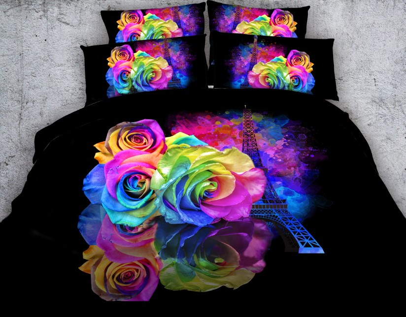Floral Bedding sets 3D Rose Flower Comforter set duvet cover bed in a bag sheet doona bedspread Cal King Queen size twin 5PCS
