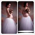 Maternity Pregnancy Elegant Fancy Gown White Lace Photography Props Royal Style Long Dress Pregnant Women Photo Shoot Gown Dress