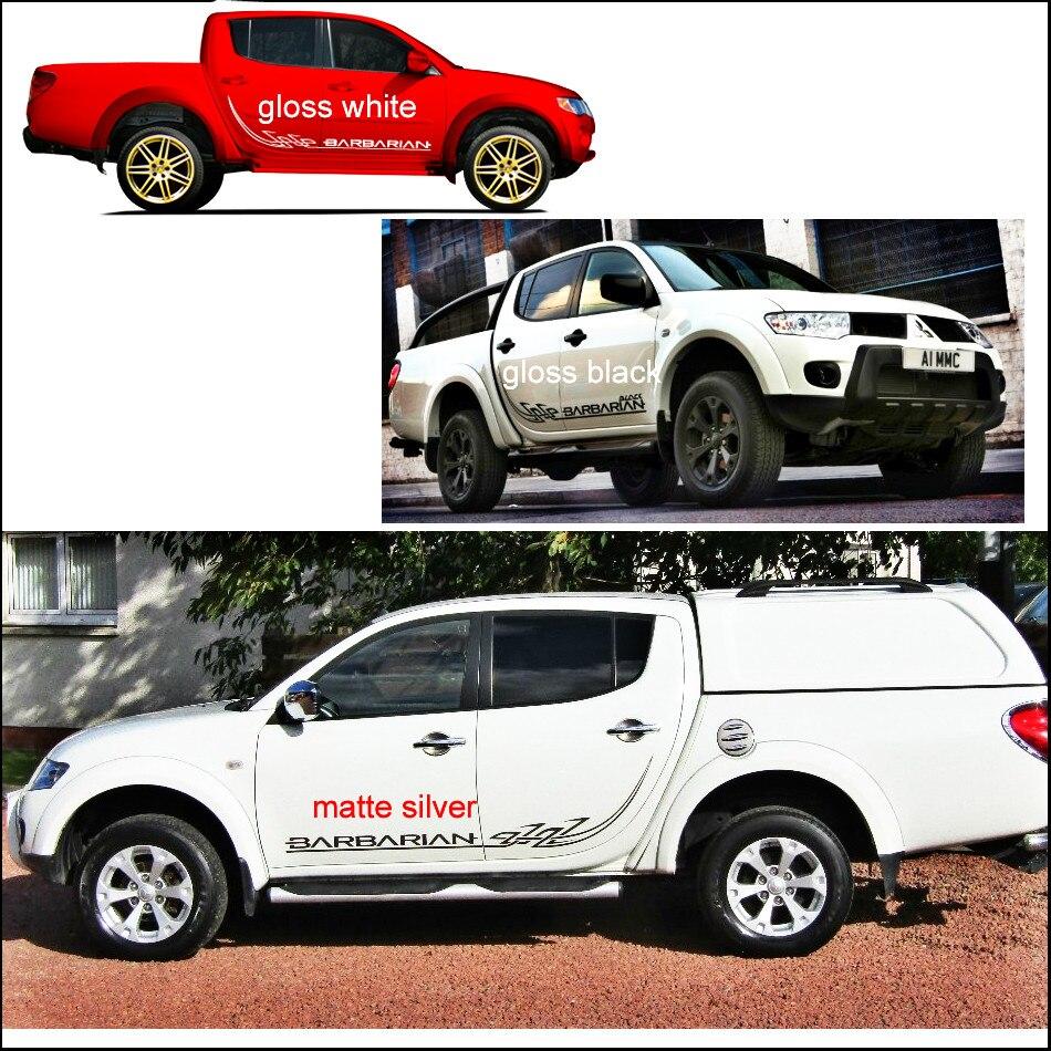 Autocollants de voiture 2 pc côté guerrier barbare tribal remplacement accessoires de voiture décalque personnalisé pour mitsubishi l200 triton pick-up