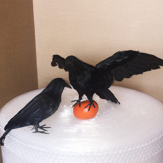 halloween black feather crow for indoor and outdoor halloween decoration - Halloween Crow Decorations