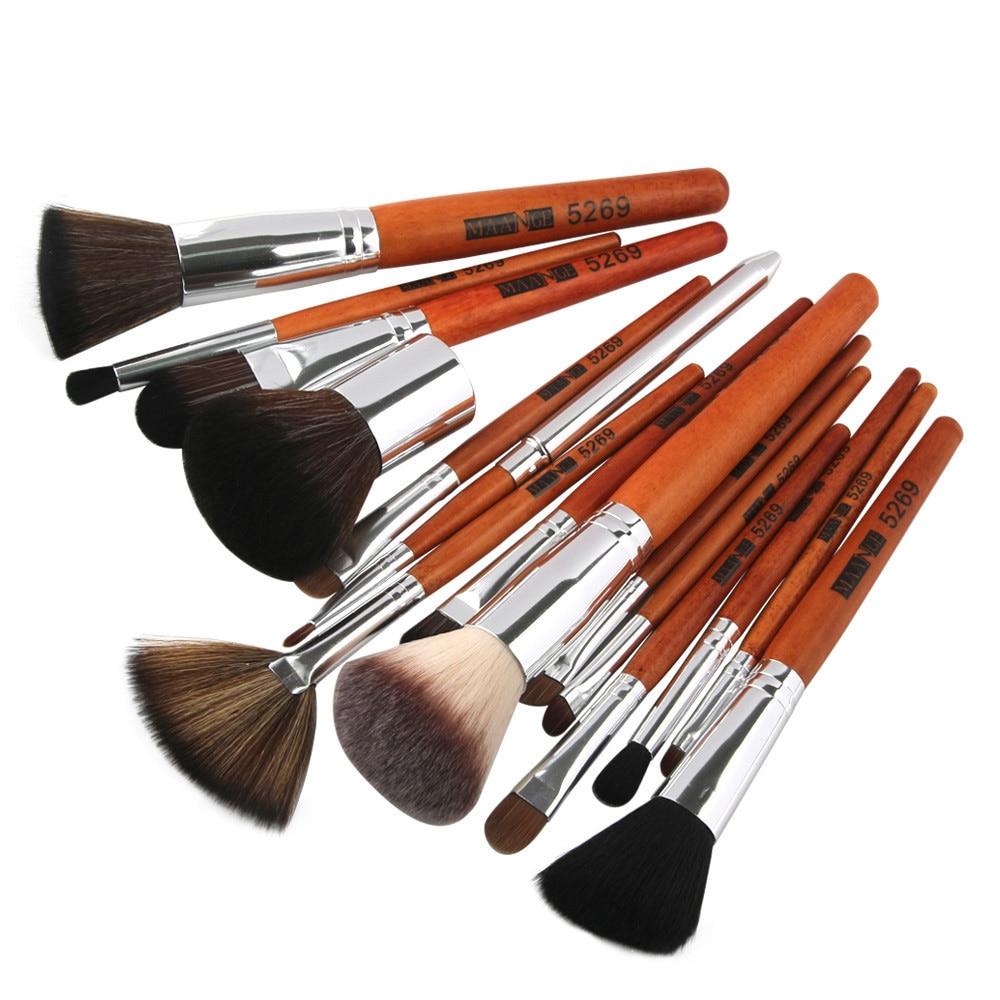 JEYL MAANGE New 15pcs Wooden Handle Makeup Brushes Set Foundation Cream Blush Eyeshadow Eyeliner Eyebrow Brush Cosmetic Tools бур садовый зубр 39491