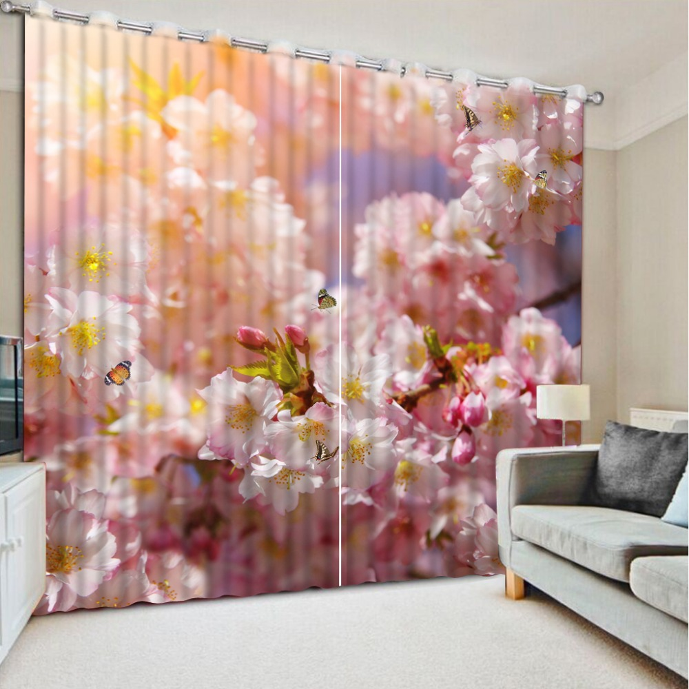Pink Living Room Curtains Us 220 35 Custom Any Size Curtains For Window Living Room Pink Flower Forest Beautiful Living Room Curtains Modern Curtains For Bedroom In Curtains