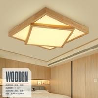 Современные квадратном деревянном потолок освещения лампы светодиодные для гостиной потолочный светильник древесины AC 110 В 260 В полигон по