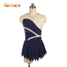 Nasinaya Figure Skating Dress Customized Competition Ice Skating Skirt for Girl Women Kids Gymnastics Performance Sleeveless customized costume ice figure skating dress gymnastics competition white adult child performance blue rhinestone sleeveless