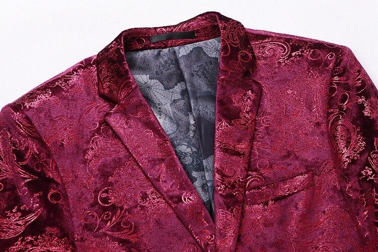 Роскошный красный цветочный стимпанк костюм из 3 предметов с узором пейсли, мужские костюмы на свадьбу, выпускной, с брюками, мужской облегающий сценический костюм, Homme - 5