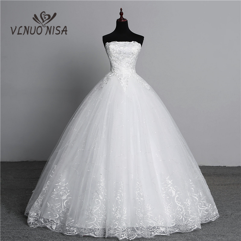 Real Photo Simple lace flower Strapless off White Fashion Sexy Wedding Dresses for brides plus size vestido de noiva(China)