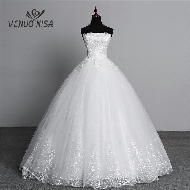 תמונה אמיתית תחרה פשוט פרח אופנה סקסית סטרפלס כבוי לבנה שמלות כלה עבור כלות בתוספת גודל vestido דה noiva