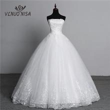 Real Photo Simple lace flower Strapless off White Fashion Sexy Wedding Dresses for brides plus size vestido de noiva