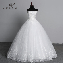 Wedding-Dresses Lace Strapless Brides Real-Photo Off White Fashion Plus-Size Simple Flower