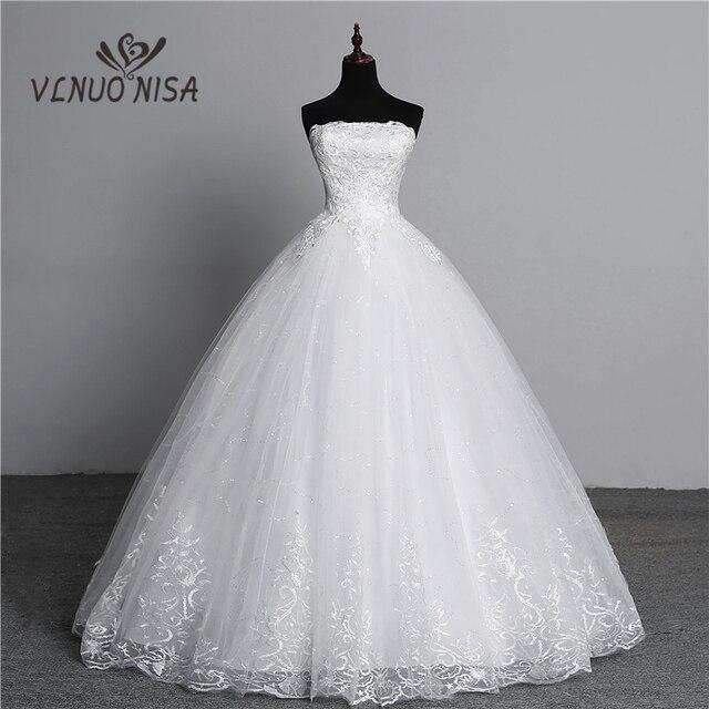Vraie Photo Simple dentelle fleur sans bretelles blanc cassé mode Sexy robes de mariée pour les mariées grande taille vestido de noiva