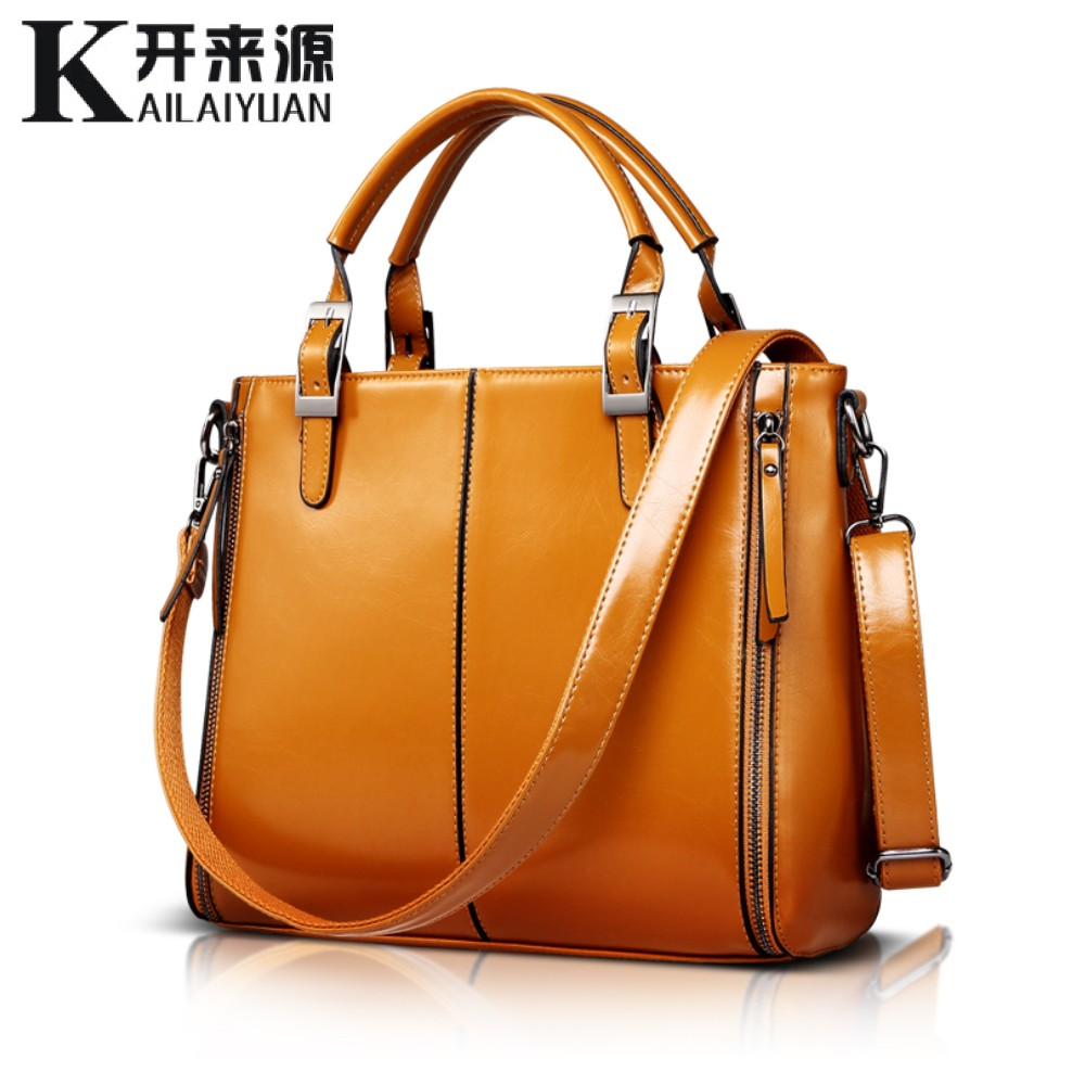 KLY 100% Véritable cuir Femmes sacs à main 2018 Nouveau De Mode Sac À Main Brun Femmes Sac Vintage Messager Sac Bureau Ladie Serviette
