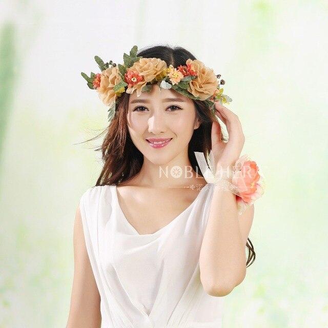 Bellissimi fiori Sen Dipartimento di vento Naturale simulazione copricapo  corona accessori per capelli cerimonia nuziale della 689bfdd3cc6b