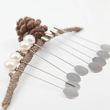 Safety Pin 10PCS/Lot Brooch Pins For Fixing Brooches Sewing Pearl Cylindrical Garment Decoration Metal 19701