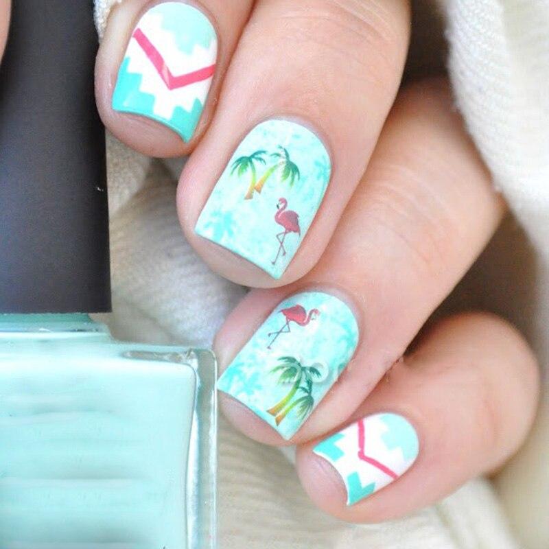 1 Sheet Hawaii Palm Tree Nail Art Water Decals Flamingo Design