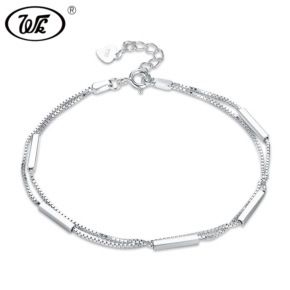 WK NEW 925 Sterling Silver Bracelet Simple Double-layer Women Charm Bracelets For Girls Hand Chain Jewelry Wholesale W5 NBY29 все цены