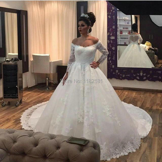 Elegant Lace Tulle Wedding Dresses Simple Design 3 4 Lace: New Arrival 3 4 Sleeves Ball Gown Lace Wedding Dress Off