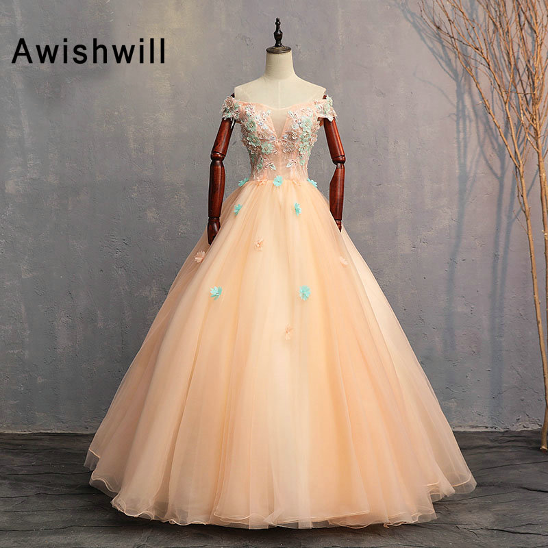 Off The Shoulder Ball Gown Evening Party   Dress   Floor Length Pearls 3D Flowers Vestido Longo Elegant 2019 Masquerade   Prom     Dress