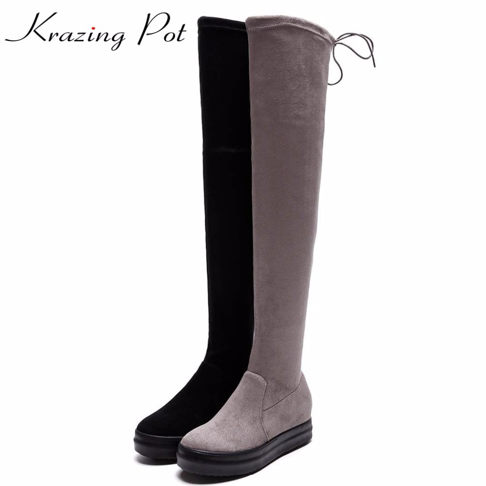 Krazing pot new flannel stretch boots bowtie winter keep warm wedges med heels thin legs beauty fashion over-the-knee boots L3f1 krazing pot flannel stretch boots winter keep warm wedges high heels leisure long legs beauty fashion over the knee boots l31