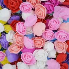50Pcs/lot 3.5cm Mini PE Foam Rose Flower Head Artificial Flowers For Home DIY Headdress Wreath Supplies Wedding Party Decoration