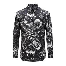 Fashion New Arrival Men Black Print Pattern Cotton Shirts Male Long-Sleeve Slim Shirt Casual Floral Men's High Quality Clothing