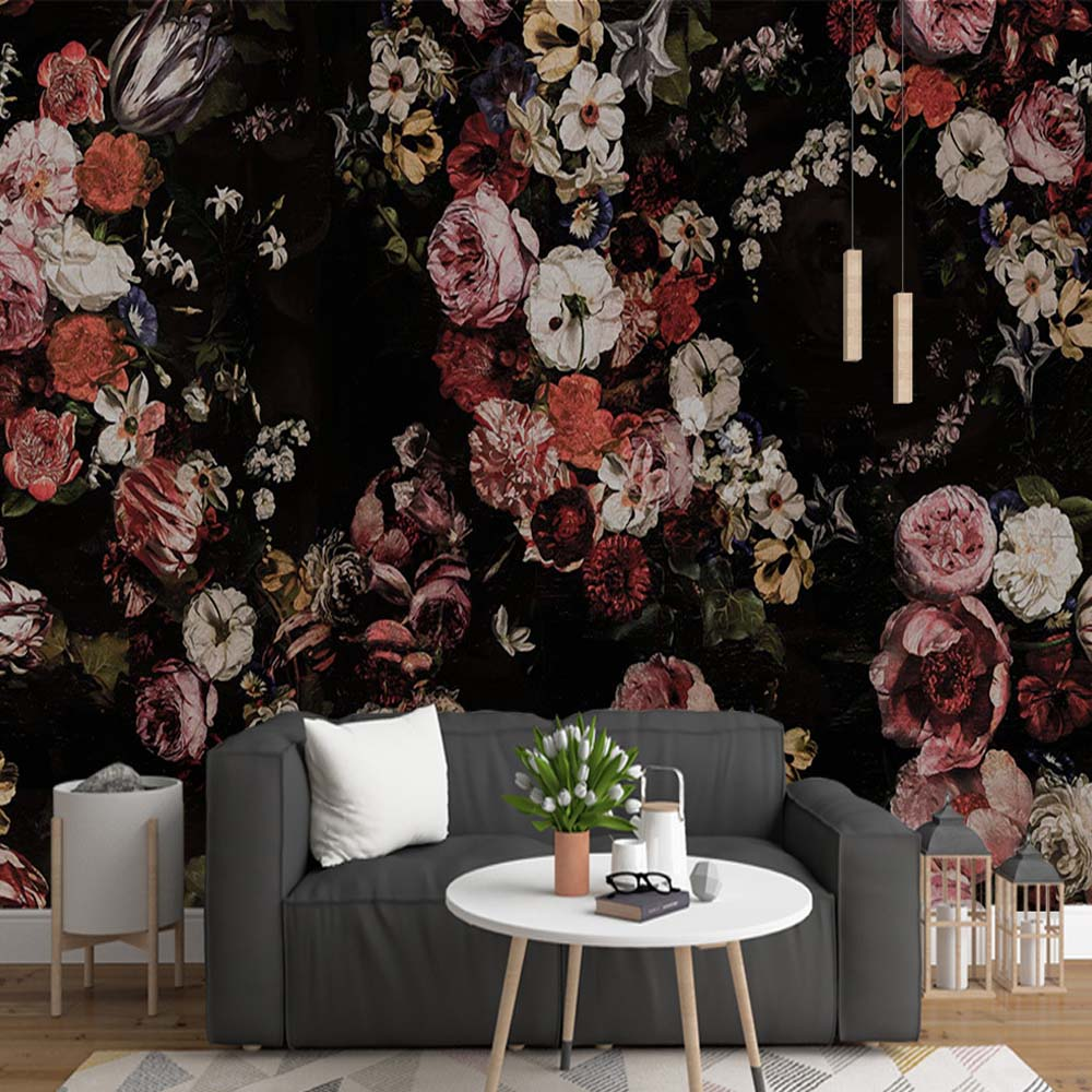 European Vintage Hand Oil Painting Rose Flower Wallpaper Murals