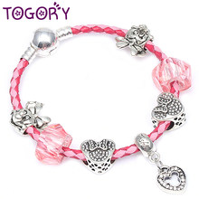 d200d3a75 TOGORY Fashion Silver Color Mickey Beads Leather Chain Pandora Bracelet  Strand Charm Bracelets For Women DIY Jewelry Making