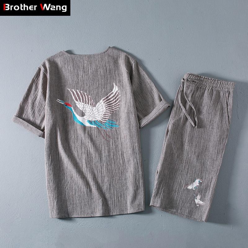 (t-shirt + Shorts) 2019 Sommer Neue Männer Casual Zwei-stück Anzug Chinesischen Stil Mode Stickerei Flachs Leinen Marke Kleidung Geschickte Herstellung