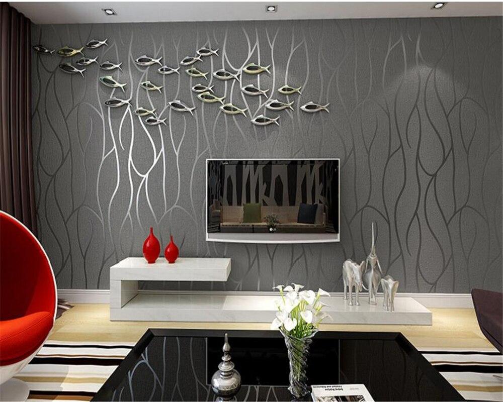 Grijs Behang Woonkamer : Beibehang moderne hoge kwaliteit d behang dikke gestreepte geel