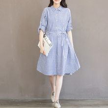 New Hot Plus Size Shirt Dress Style Fat MM Large Women Loose Long Sleeve Striped Blouse