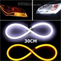 2x 30cm DIY White+Amber Flexible Strip Turn Signal Tube Angel Eye DRL LED Daytime Running Head Headlight Light For Audi