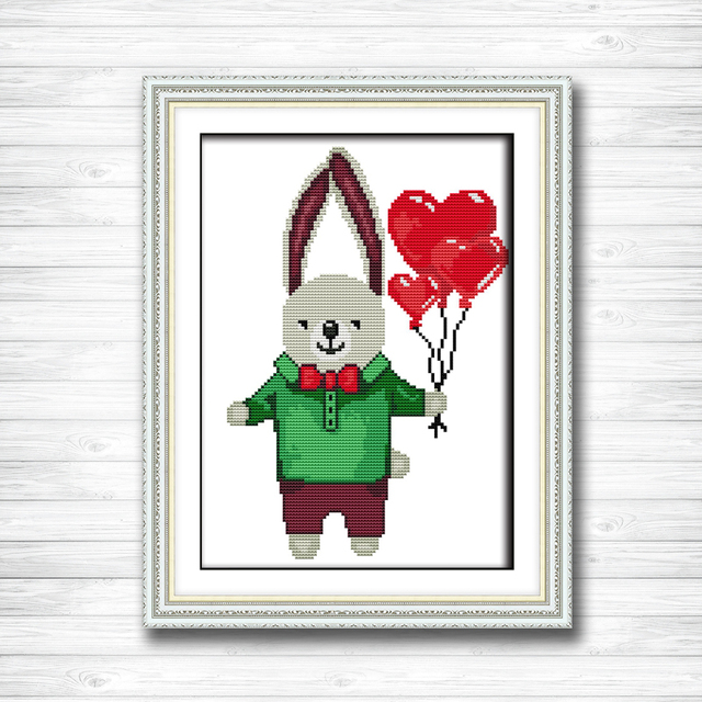 Mr Rabbit Painting Dmc 14ct 11ct Counted Cross Stitch Needlework