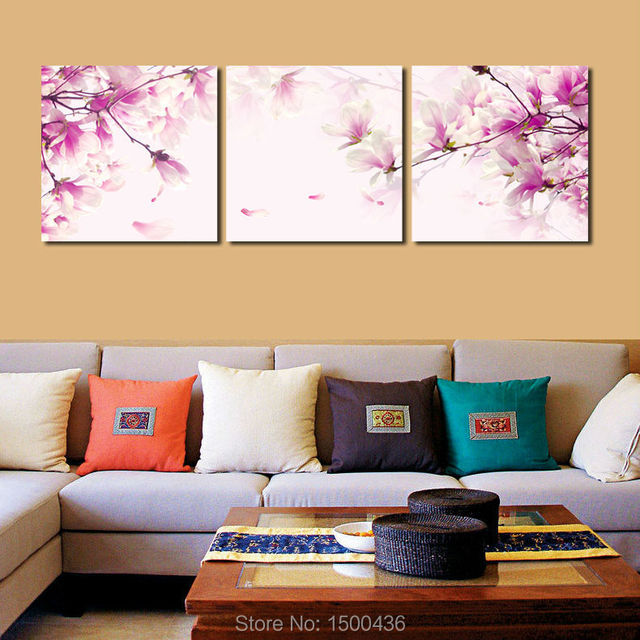 Modern Picture Purple Flowers Oil Canvas Painting Pink Walls Art 3 ...