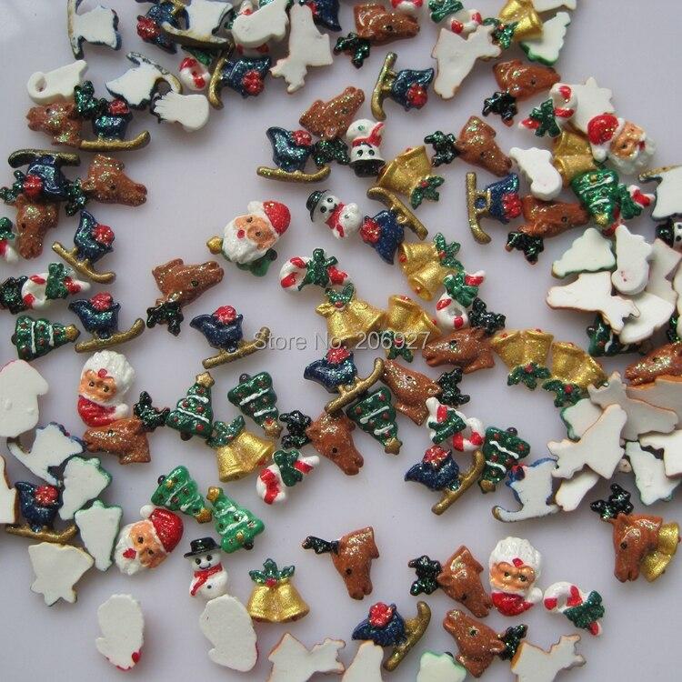 #64 30 Stücke Nette Mischung Weihnachten Form Nail-harz-dekoration Outlooking Gesundheit FöRdern Und Krankheiten Heilen