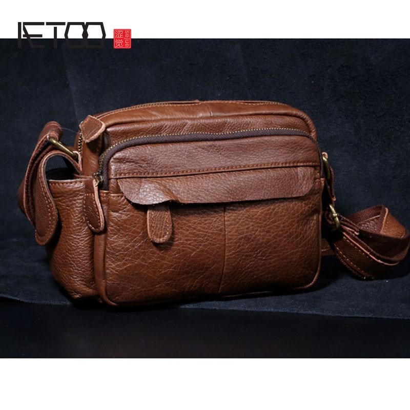 AETOO Men s Bag Mini Bag Handbag Leather Soft Leather Shoulder Bag Head Layer Leather Messenger