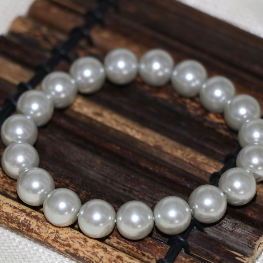 Bohemia style 10mm silver-color shell simulated-pearl round beads bracelets for women high quality jewelry 7.5inch B2910