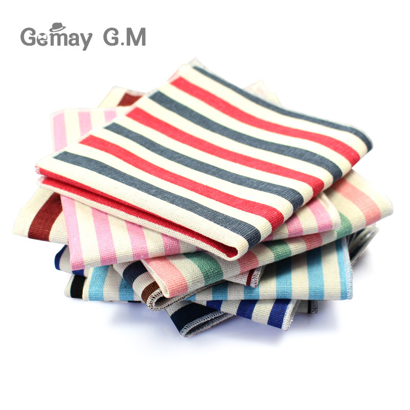 High Quality Hankerchief Scarves Vintage Linen Hankies Men's Suit Pocket Square Handkerchiefs Print Cotton Striped Hanky(China)