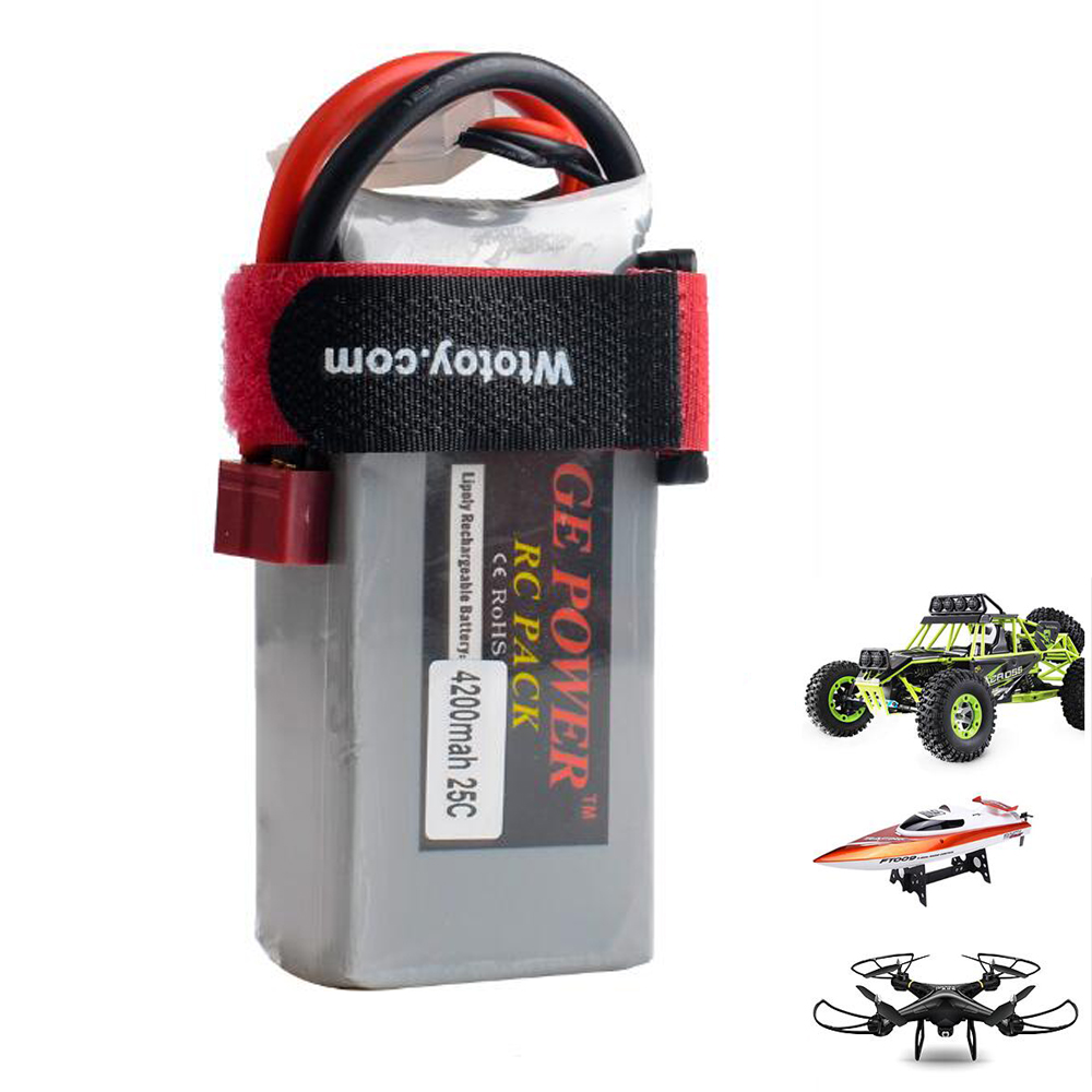 1pcs GE Power 7.4V 4200MAH 25C 2S li-po battery T plug for Wltoys 12428 RC car/RC boat
