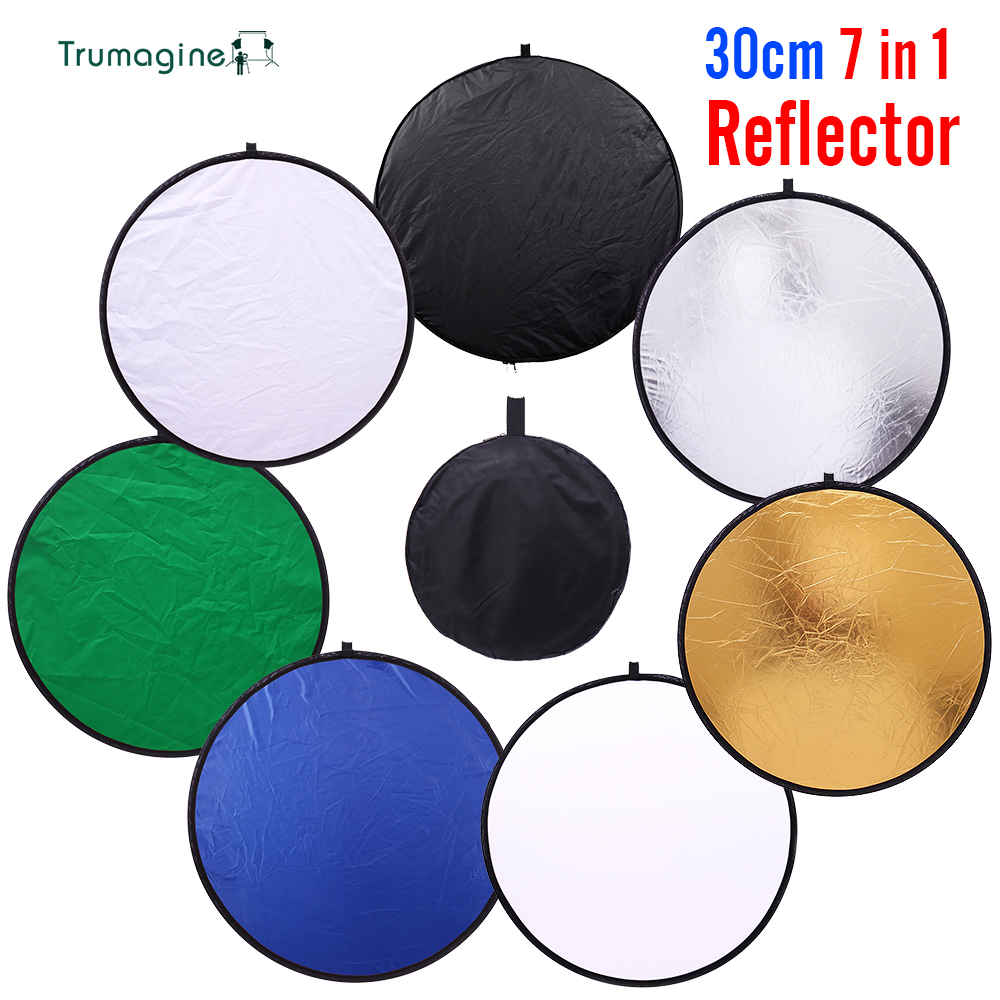 Mini 30cm 7 in 1 Portable Collapsible Light Round Photography Reflector for Studio Multi Photo Disc