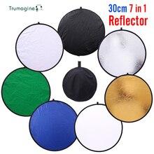 Mini 30cm 7 w 1 składany biały odbłyśnik dyfuzor reflektor do zdjęć uchwyt przenośny Flash Photo Reflector Disc