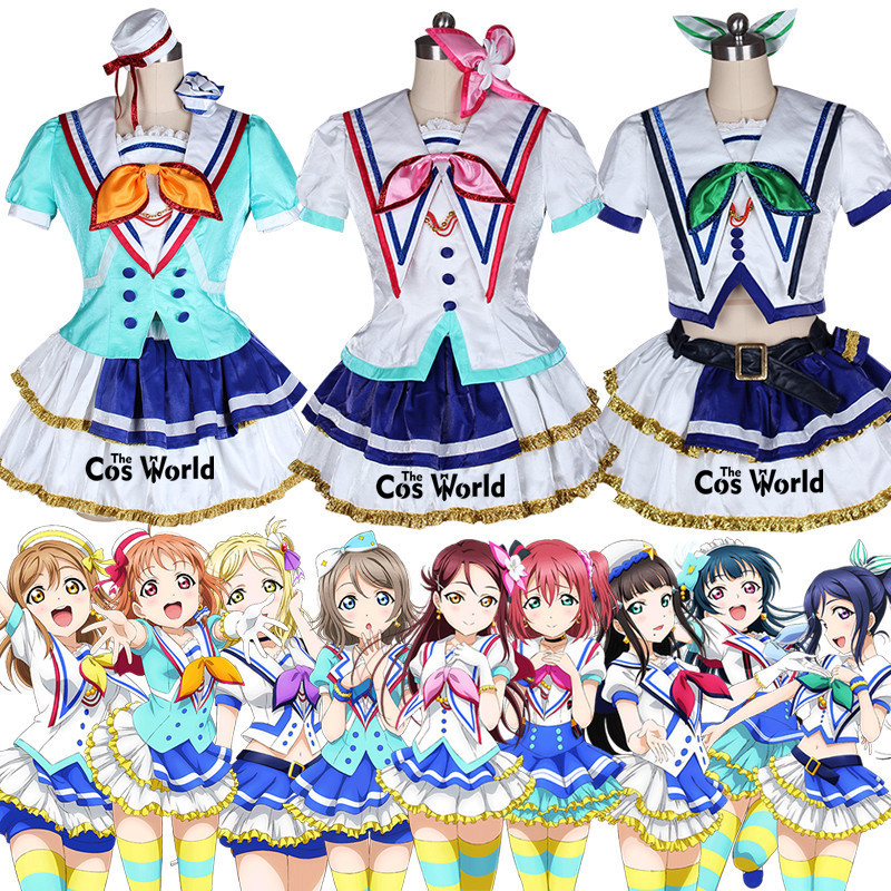 Love Live Sunshine Aqours Jumping Heart 9 Characters Takami Chika Kurosawa Dia Ruby Riko Dress Uniform Cosplay Costumes