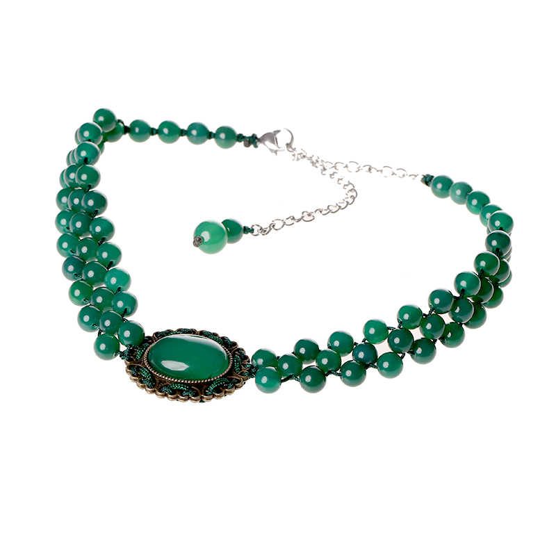 Collar green necklace Harajuku clavicle chain agate decoration ethnic style short section Korean necklace femaleCollar green necklace Harajuku clavicle chain agate decoration ethnic style short section Korean necklace female
